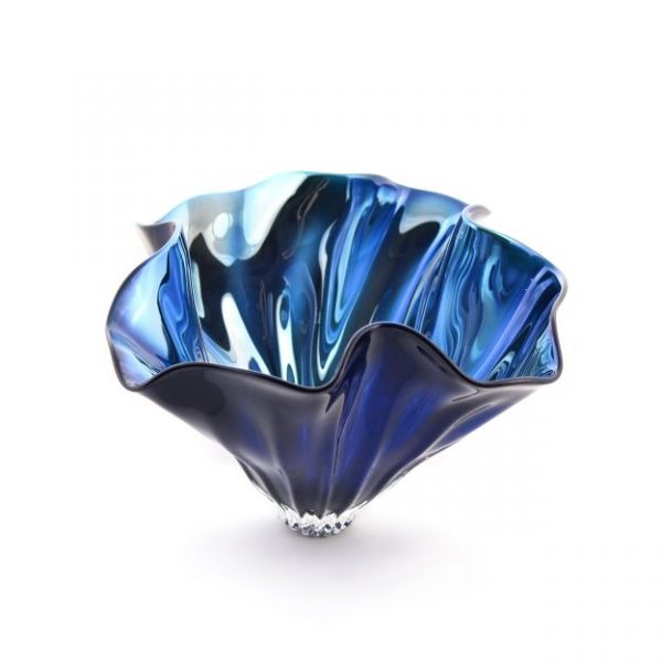 Blue Aurora Bowl  - Narrow Foot