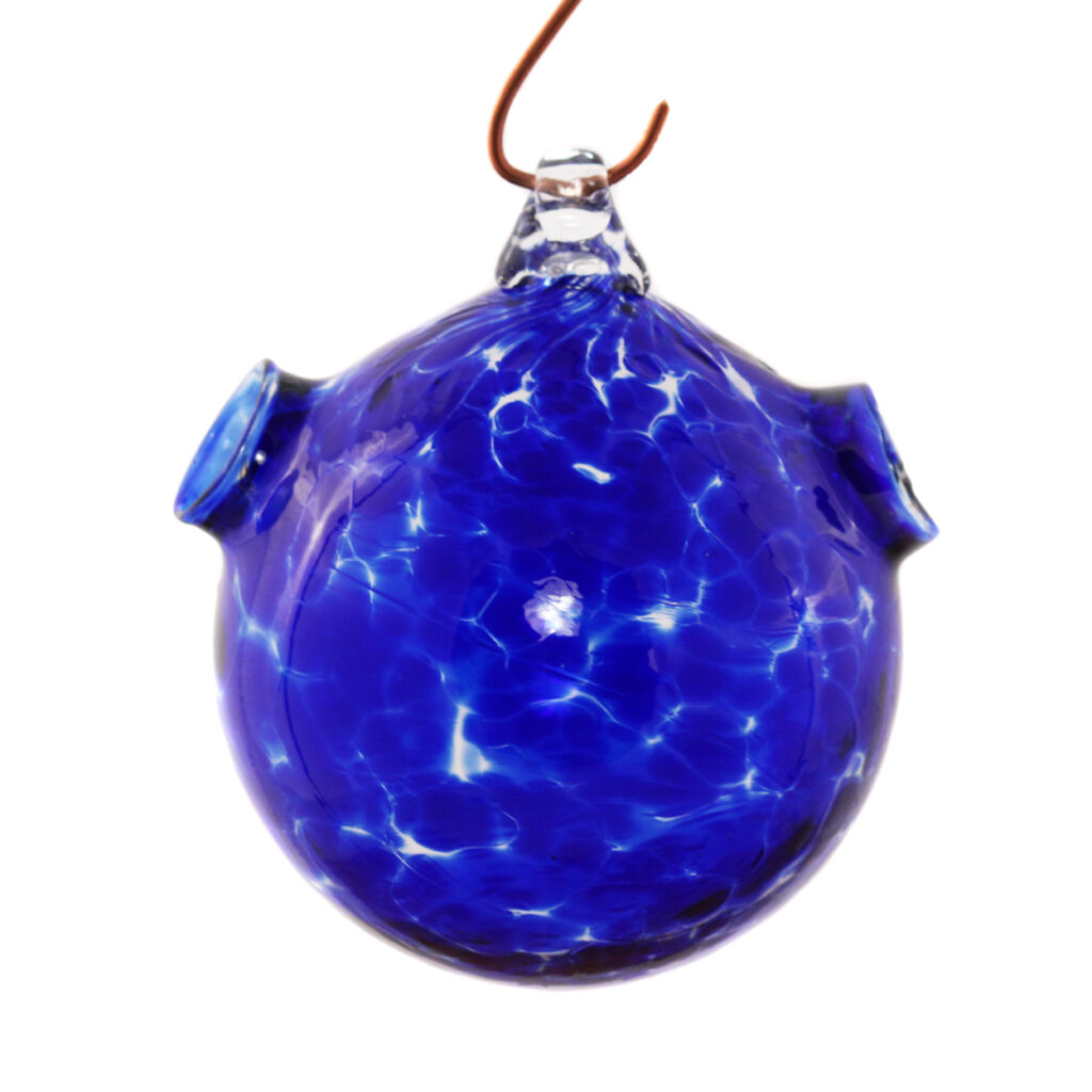 A suncatcher with openings on the side that allows you to fill with water and place plant cuttings for rooting. Transparent blue hanging by a hook.